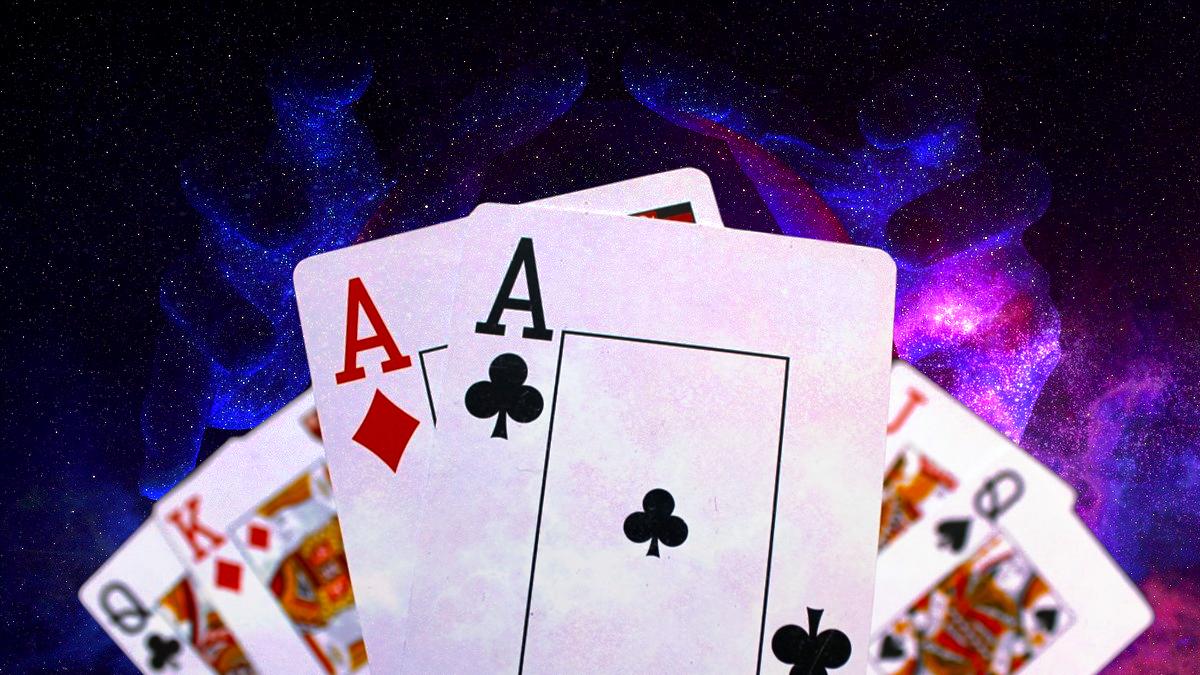 Poker Face Cards Dengan Background Ruang Nyata